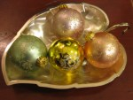Bowl of vintage Christmas balls
